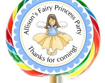 Fairy Princess Birthday Lollipop Stickers, Princess Birthday Stickers, Extra Large Personalized Stickers, Fit on WHIRLY LOLLIPOPS