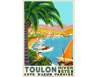 Toulon Cote D'Azur France Travel Poster Mediterranean Art Roger Broders Repro Print 313