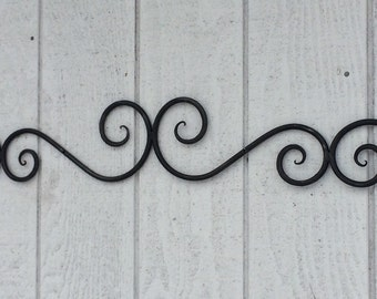 large wall scroll, wrought iron wall art, wrought iron wall decor, bedroom wall decor, door topper, metal wall art, entry accent, doorway