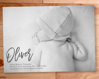Baby Boy Announcement, Birth Announcement, Brush Script, Printable, Typography, Custom Photo Card, Swirls, Custom Announcement Photo Card