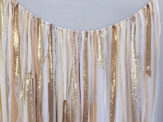 Shades Of Gold Sequin Lace Ribbon Sparkle Wedding Backdrop