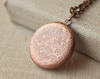 Copper Locket necklace Pendant locket necklace Copper photo locket pendant secret message copper plated gift for her long chain locket N9