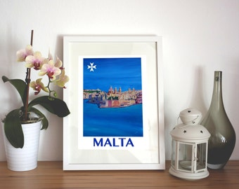 Retro Poster of Malta Valletta View of City of Knights - Limited Edition Fine Art Print
