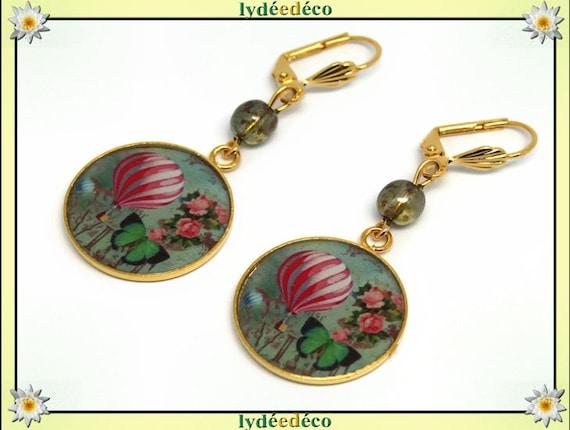 Brass hot air balloon earrings gold 24 k Butterfly beads pink green flower gift birthday mother's day wedding thank you teacher