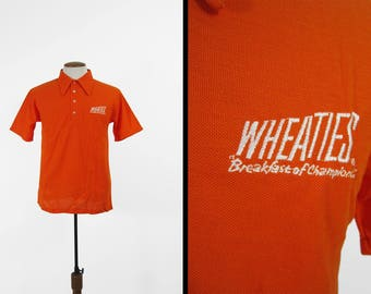 Vintage Wheaties Polo Shirt Orange Pullover T-shirt Made in USA - Size Medium