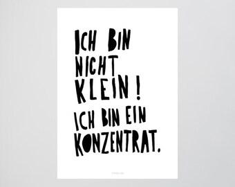 Konzentrat / Quote, Not Small, Concentrate, Fine Art-Print, Wall-Art, Minimal Poster Art, Typography Art, Premium Poster, Kunstdruck Poster