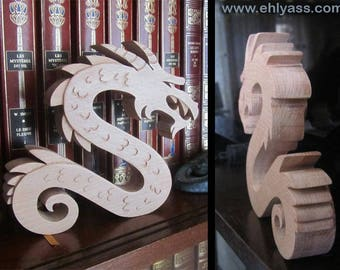 Solid wood Dragon winding fretwork sculpture