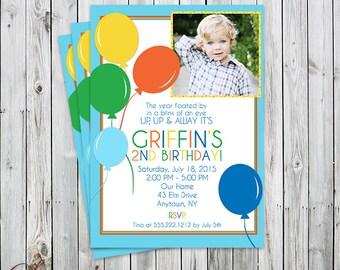 Balloons Up, Up & Away  - Photo Birthday Invitation - Digital File or Printed