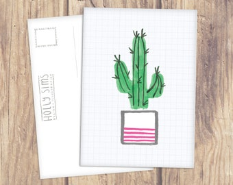 Cactus Plant Illustration A6 Postcard Print - Stationery - Single Postcard - Lovely Home Idea
