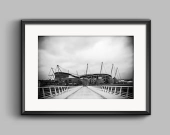 Black and white landscape photograph of the Etihad Stadium Manchester City / wall art / art print / MCFC / Photo / home decor / football