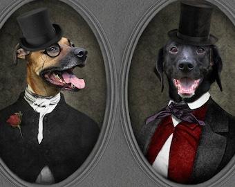 Black Lab Dog Print Pet Portrait Gothic Labrador Dogs Unique Gifts Funny Animal Art Home Decor Top Hat Monocle - Always a Gentlemen