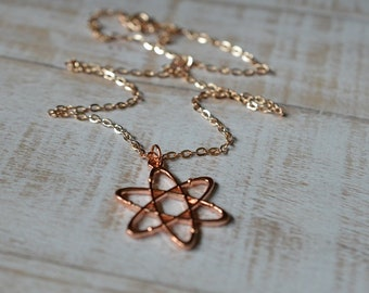 Biolojewelry - Rose Gold Tone Atom Molecule Science Necklace