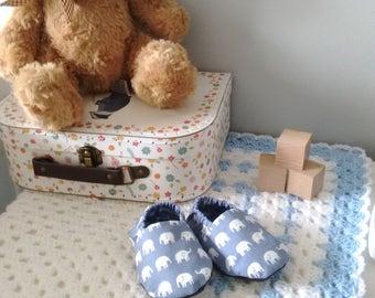 Soft fabric elephant baby shoes - slip on baby shoes - baby slippers - new baby gift - baby shower gift