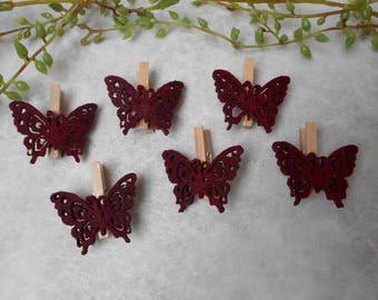 6 dark Burgundy felt Butterfly pins