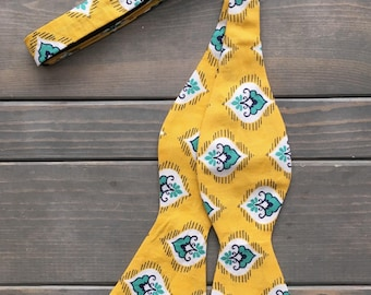 Yellow Bow Tie - Mens Bow Tie - Self Tie