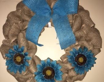 Handmade Burlap Wreath, Blue Burlap Ribbon, Blue Flowers