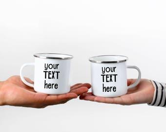 Custom Camp Mug Enamel Mug Personalized Mug Custom Camping Mug  Camping Coffee Cup Gift For Him Gift For Her Camping Gift Valentines