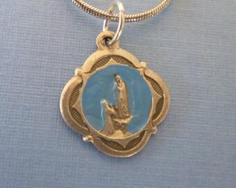 Blue Enamel Our Lady of Lourdes Religious Medal - Mary Necklace - Blue Enamel - Pendant Necklace - Religious Jewelry - Catholic Gifts