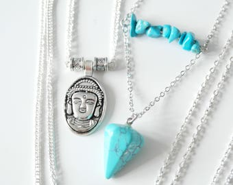 Charming 'Buddha' silver plated necklace with beading handmade by Charmed Ivy