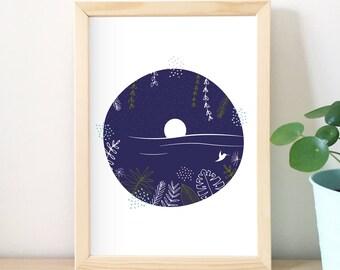 Tropical print, illustration, night, beach, blue, home decor, vegetable, graphic design, sea, vacation, bird, man gift