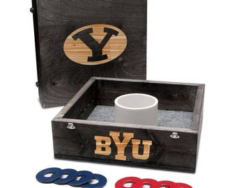 Brigham Young University BYU Cougars Washer Game Set Onyx Stained