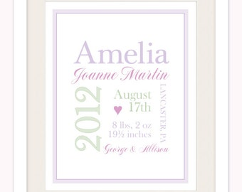 Personalized Typography Baby Girl 8x10 Birth Print - Custom Color Wall Art