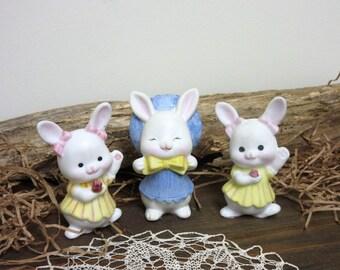 Easter  Bunny   Rabbit  Bunny Figurines   Dolls Miniatures   Easter Rabbit  - set of 3.