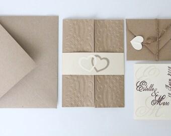 Kraft natural and ivory wedding invitation