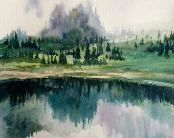 Cascade mountains, mountain lake, Pacific Northwest, Misty mountains, mountain painting, landscape watercolor, lake painting,Misty landscape