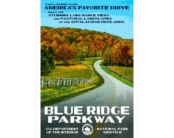 "Blue Ridge Parkway WPA-style poster. Color. 13"" x 19""  Original artwork, signed by the artist!"