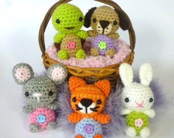 Minimals - Little Pet Shop Dolls,Turtle, Kitten, Rabbit, Mouse, Puppy - Amigurumi Crochet Pattern