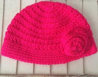 Neon Pink Hat - child's size