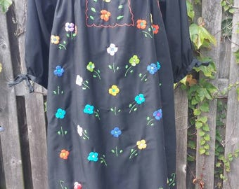 Vintage 1980's Embroidered Floral Maxi Dress, Size L-XL