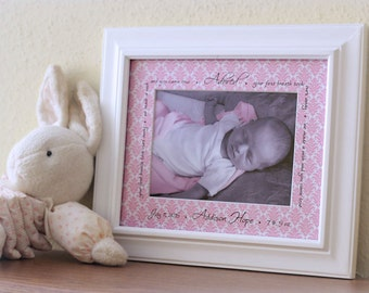 Personalized baby photo mat -- new baby gift, gift 10 and under, birth announcement, unique keepsake, baby shower