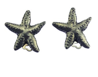 Pewter Starfish Earrings, Silver Starfish Earrings, Starfish Clip On EArrings