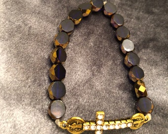 Purple Glass beads with St. Benedict Gold Cross Bracelet