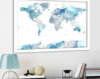Watercolor world map etsy soft color print highly detailed map cities and state names subtle watercolor gumiabroncs Gallery