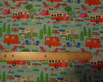 Blue with Multicolored Campers/Tents Cotton Fabric by the Yard