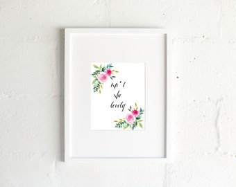 """Digital Download """"Isn't She Lovely"""" Nursery Baby Girl Watercolor Art"""