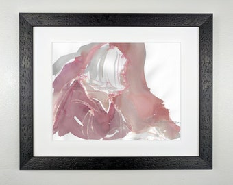 Woman in Mauve and Gray - Original Framed Watercolor