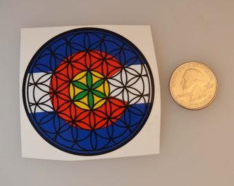 2.5 inch sticker...Colorado LEAF Flower of Life...support local art