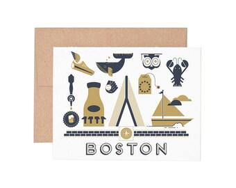 Boston Letterpress Greeting Card - Blank Card | Greeting Cards |