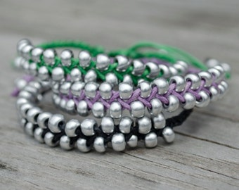 Silver Braided Bead Bracelet, Braided Bead Bracelet, Braided Bracelet, Beaded Braided Bracelet