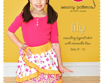 Lily Ruffle Skirt PDF Downloadable Pattern by MODKID... sizes 2T to 10 Girls included - Instant Download