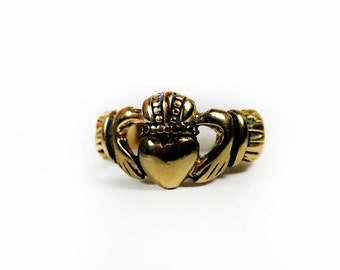 Vintage Irish Claddagh Ring Antiqued Gold Tone 18k Gold Electroplated Handcrafted Made in USA  #R1768