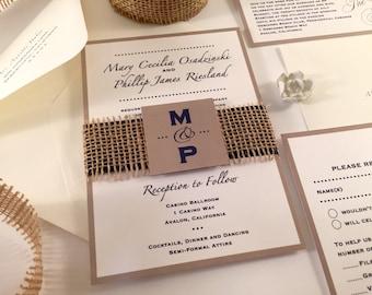 SAMPLE Burlap Wedding Invitation, Monogram Invitation Initials, Rustic Invitations, Navy Blue Wedding Invitations, Beach Wedding Ivory Taupe