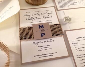 Burlap Wedding Invitation, Monogram Invitation Initials, Rustic Invitations, Navy Blue Wedding Invitations, Beach Wedding Ivory Taupe