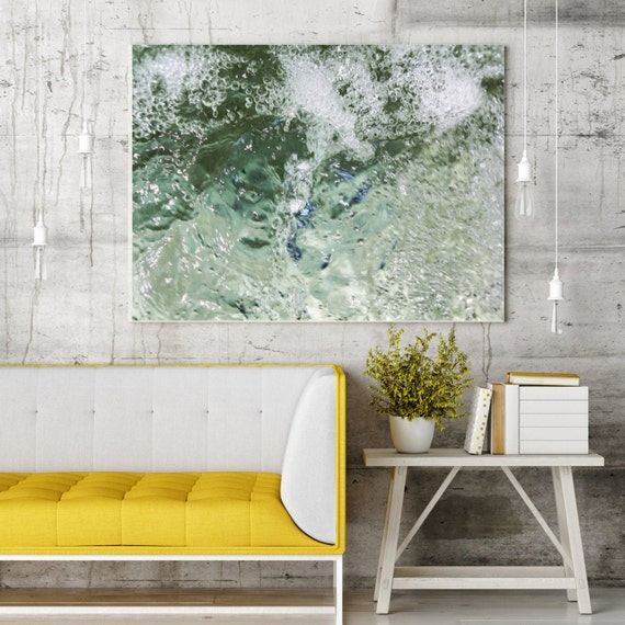 """ORL-6953-2 Crystal Clear Water 2 Extra Large Urban Abstract Water Canvas Art Print, Blue Water Abstract Wall Art up to 72"""" by Irena Orlov"""