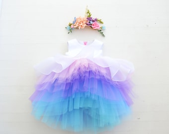 Unicorn Party Dress in Cotton Candy Ombre