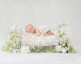 Newborn Photography Digital Backdrop - Simple white bed with fresh white and green foliage and a selction of delicate white flowers